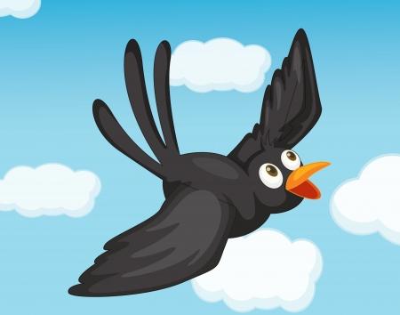 Illustration of black bird flying Illustration