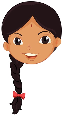 indian girl: Illustration of the face of an Indian girl