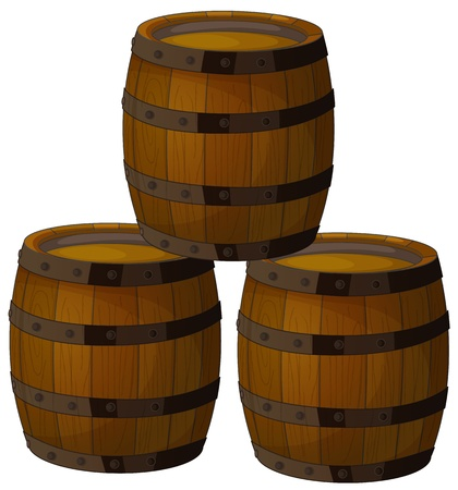 Illustration of isolated wooden barrels Vector