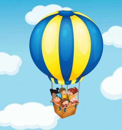red balloons: Illustration of children in a balloon