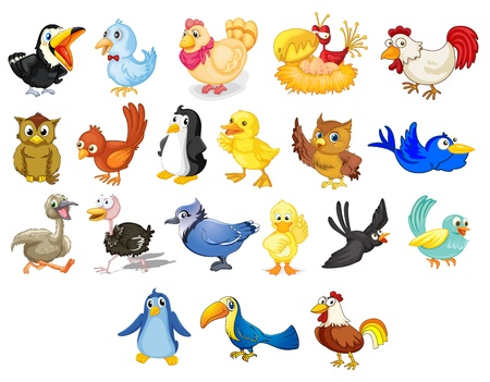 Collection of mixed cartoon birds on white Ilustrace
