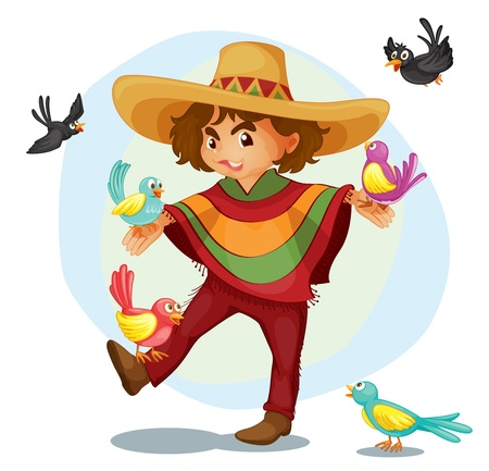 traje mexicano: Ilustración de un niño mexicano