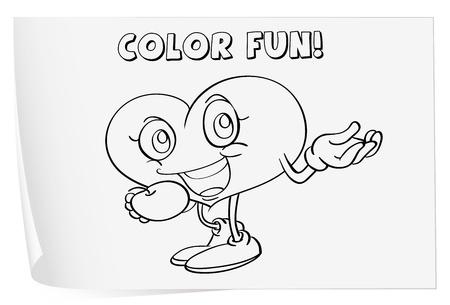 heart sketch: Illustration of a colouring worksheet (heart) Illustration