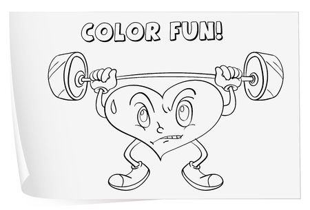 lifting weights: Illustration of a colouring worksheet (heart) Illustration