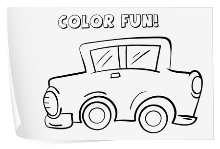 Illustration of a colouring worksheet (car) Vector