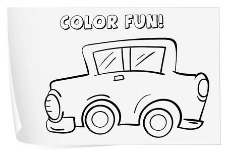 Ilustración De Una Hoja Para Colorear (coche) Ilustraciones ...