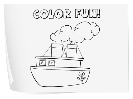 coloring sheets: Illustration of a colouring worksheet (boat)