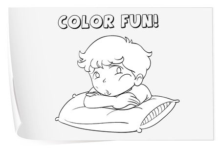 white pillow: Illustration of a colouring worksheet (boy) Illustration