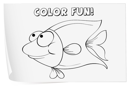 Colour worksheet of a fish Vector