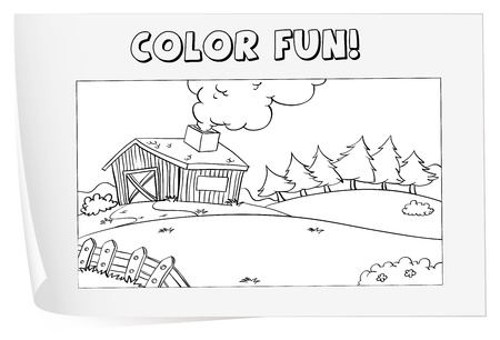 barn black and white: Illustration of a colouring worksheet (farm) Illustration