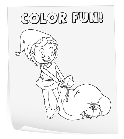 Illustration of a colouring worksheet (elf) Vector