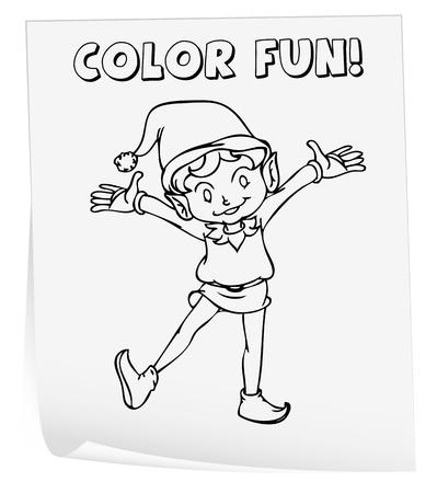 Ilustración De Una Hoja Para Colorear (ELF) Ilustraciones ...