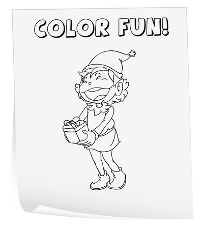 Illustration of a colouring worksheet (elf) Vector