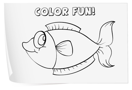 Colour worksheet of a fish Stock Vector - 13825812