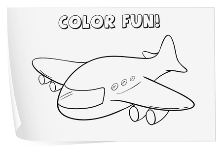 Illustration of a colouring worksheet (plane) Vector