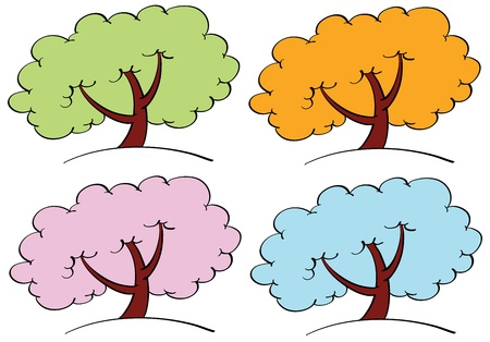 Illustration of trees of the seasons Stock Vector - 13826367