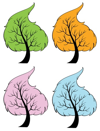 four elements: Illustration of trees of the seasons Illustration
