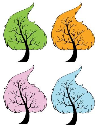 cuatro elementos: Ilustración de los árboles de las estaciones Vectores