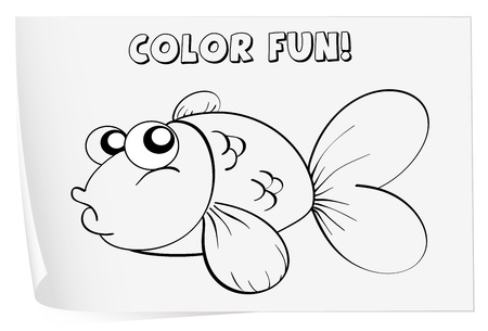 outline drawing of fish: Colour worksheet of a fish