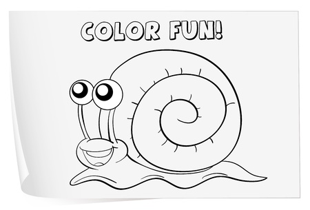 Illustration of a colouring worksheet (snail) Vector