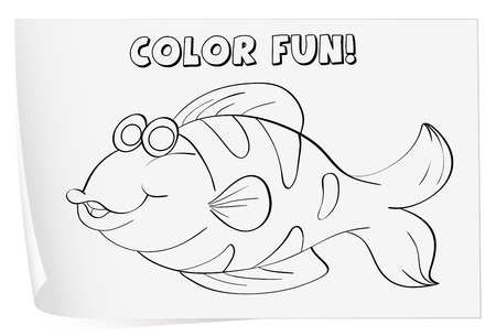 Colour worksheet of a fish (fish) Vector