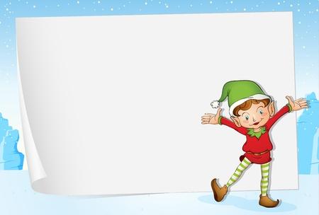 Ilustración de un duende en el fondo de papel de Navidad