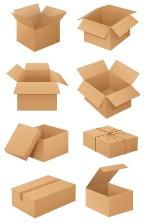 verhuis dozen: Illustratie van kartonnen dozen op wit Stock Illustratie