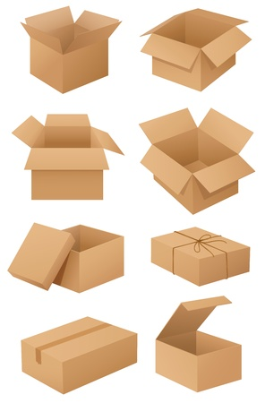 post box: Illustration of cardboard boxes on white Illustration
