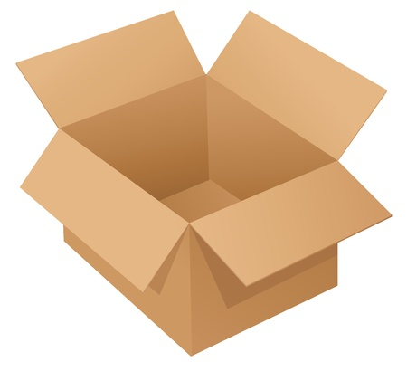 package sending: Illustration of a cardboard box on white