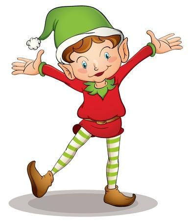 kerstmuts: Illustratie van een kerst elf