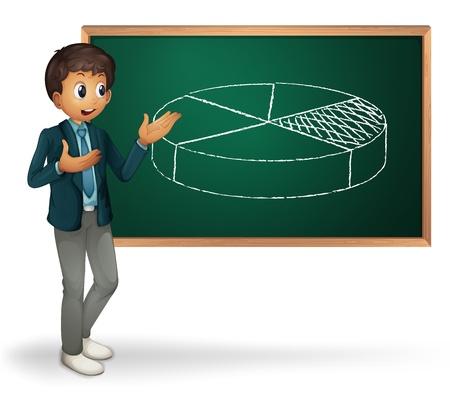 Businessman cartoon presenting on blackboard Vector