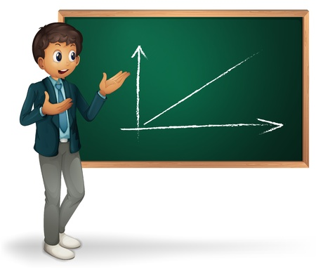 data loss: Businessman cartoon presenting on blackboard