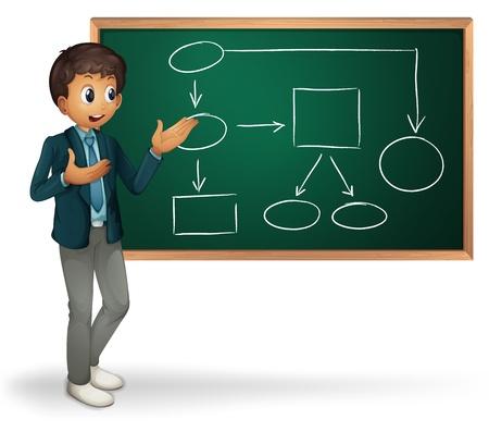 board meeting: Businessman cartoon presenting on blackboard
