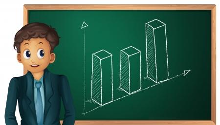 man presenting: Businessman cartoon presenting on blackboard