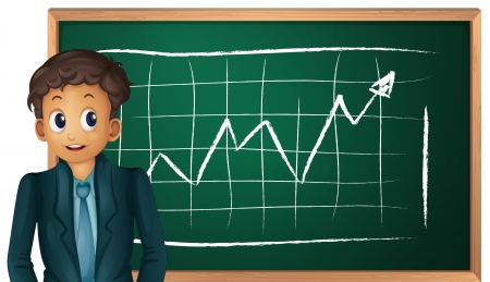 Businessman cartoon presenting on blackboard Vector