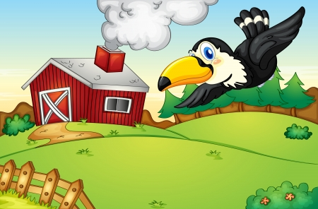 glide: Illustration of a bird flying over a farm