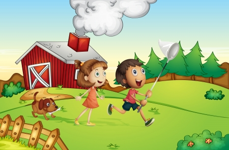 man in field: Illustration of kids at a farm