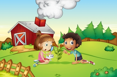Illustration of kids at a farm