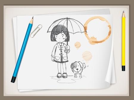 sotto la pioggia: Uomo d'affari del fumetto che presenta sulla lavagna Vettoriali
