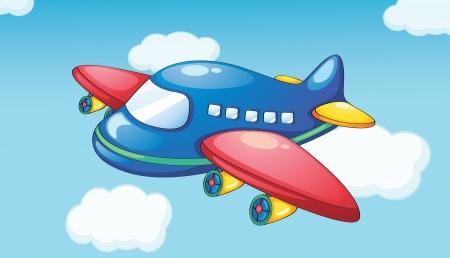 avion caricatura: Ilustraci�n de un avi�n en el cielo azul Vectores