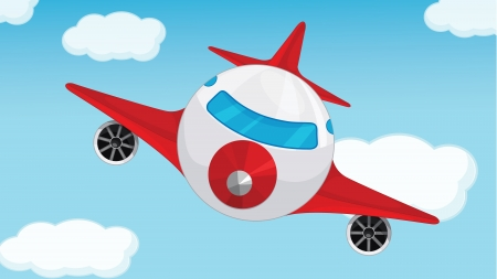 pilot wings: Illustration of a plane in blue sky Illustration