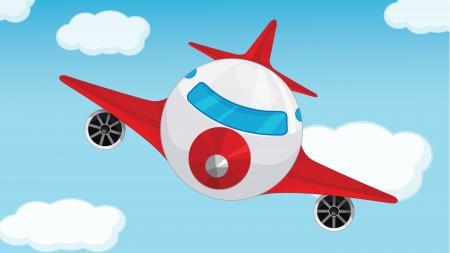pilotos aviadores: Ilustraci�n de un avi�n en el cielo azul Vectores