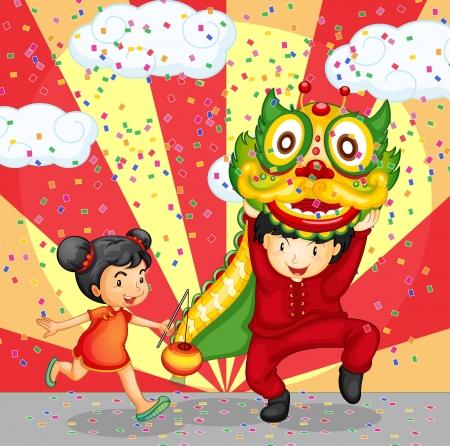 dragon chinois: Illustration d'une jeune fille et un garçon chinois