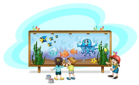 Illustration of kids painting a banner Stock Vector - 13832332