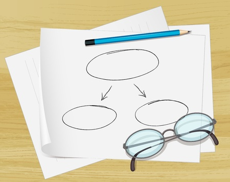 Illustration of glasses, pencil and notes on paper Vector