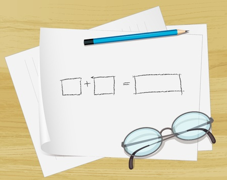 spec: Illustration of glasses, pencil and notes on paper