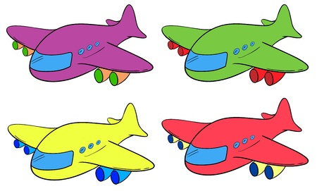 plane cartoon: Illustration of 4 planes in different colours