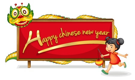 Illustration of a chinese girl and banner Vector
