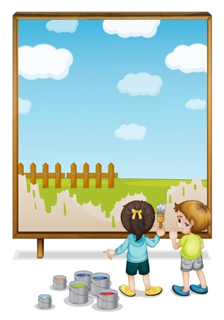 cartoon wood bucket: Illustration of kids painting a banner