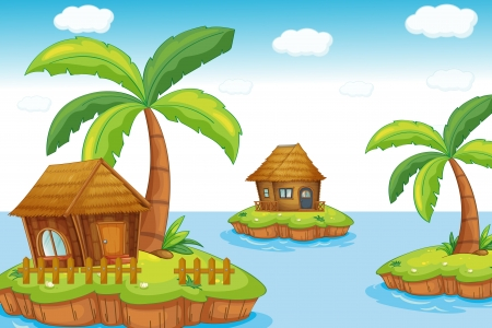island huts Illustration